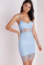 lace strappy bra insert bodycon dress powder blue missguided