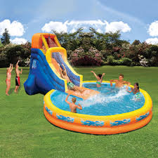 banzai the plunge backyard inflatable waterslide with giant