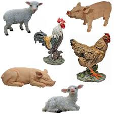 toscano farm animals quality painted garden ornament statue pig
