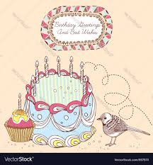 retro doodle birthday cake card royalty free vector image
