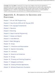answers to quizzes and exercises c sharp programming language