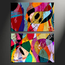Home Decor Paintings by 2 Piece Multicolor Home Decor Abstract Art