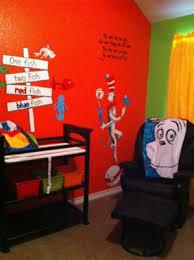 dr seuss baby room with blue green orange yellow nursery wall