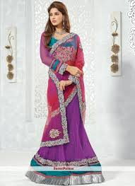 purple shade buy pink and purple shade net lehenga style saree online