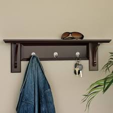 Bedroom Wall Rack Design Three Layer Dark Brown Wooden Wall Shelf On Red Brick Painted Wall