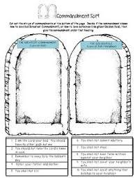 ten commandments study guide and activity sort ten commandments