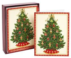 tree with floral ornaments boxed card 9780594435952