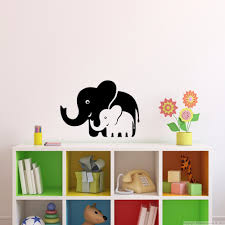 Wallpaper For Living Room Online Shop Mom And Baby Elephants Vinyl Wll Decal Wall Stickers