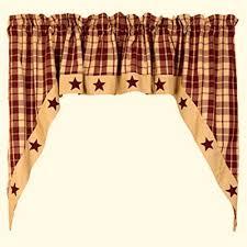 Burgundy Valances For Windows Primitive Country Farmhouse Burgundy Tan Plaid Star Swag Curtain