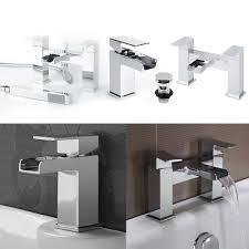 chrome tap pack bath bathroom shower square brass mono waterfall