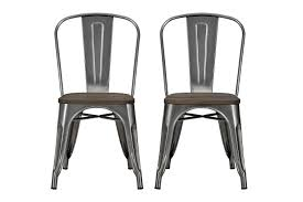 Metal Kitchen Chairs Amazon Com Dhp Fusion Dining Chair With Wood Seat Set Of 2