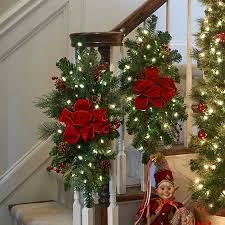 improvements indoor outdoor lighted christmas garland classic pre lit christmas staircase swag improvements