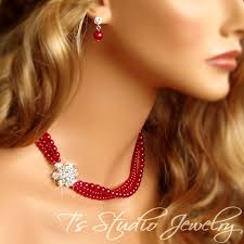 fashion pearls necklace images 53 best red pearl necklaces images pearl necklaces jpg
