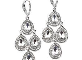Sparkly Chandelier Earrings Wedding Earrings Silver Vintage Glamorous Inspired Silver Or Rose