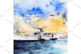 watercolor sea ship sunset landscape illustrations creative market
