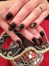 acrylic nails with black shadow gelish gel polish with crystal