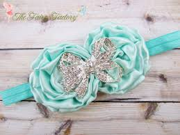 Tiffany Blue Flowers Aqua Tiffany Blue Flower Headband Satin Rosette Duo W
