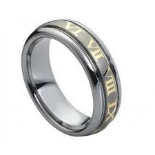 the numbers wedding band men s tungsten carbide gold plated numbers wedding band