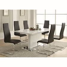 coaster furniture 100515blk modern dining faux leather dining