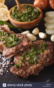 cuisine argentine argentine cuisine grilled beef steak with chimichurri sauce macro