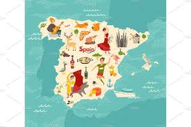 Spain Map Spainish Landmark Spain Vector Map Objects Creative Market