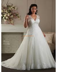 princesse robe de mariã e robe de mariée grande taille en tulle dentelle applique col en v