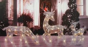 Lighted Christmas Outdoor Decorations by Amazon Com Penn 3 Piece White Glittered Doe Fawn And Reindeer