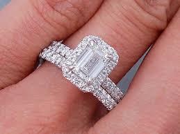 emerald cut wedding set wedding rings emerald cut mindyourbiz us