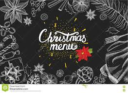 christmas party invitation food menu restaurant stock vector