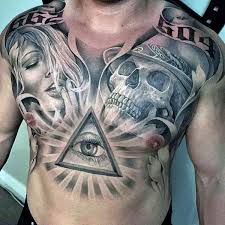 Mens Chest Tattoos - 90 black ink designs for ink ideas