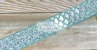 mermaid ribbon mermaid ribbon 1 aqua ribbon holographic ribbon fish scales