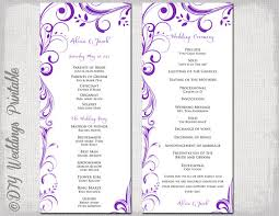 scroll wedding programs wedding program template instant purple