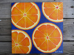 fresh bold bright orange fruit painting colbalt blue art deco