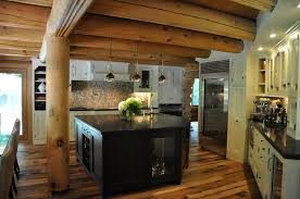 Cabin Ideas Cherry Wood Natural Glass Panel Door Log Cabin Kitchen Ideas Sink