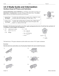 surface areas of prisms and cylinders