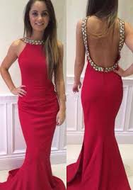 halter neck crystals red backless prom dresses mermaid court train