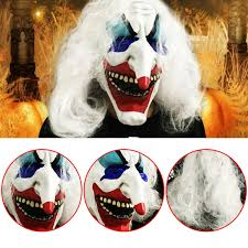 white hair clown halloween latex mask face fancy costume party