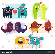 vector set cartoon cute character monsters stock vector 367549640