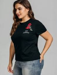 plus size embroidered t shirt with pocket black plus size t