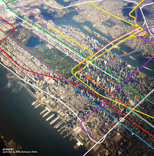 Map Of Nyc Subway by See Nyc U0027s Subway Lines Superimposed Over An Aerial Photo Of The