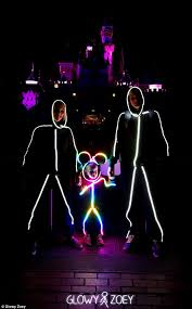 Glow Dark Halloween Costumes Clever Dad Designs Adorable Led Color Changing Stick Figure