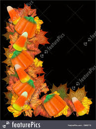halloween background leaves illustration of halloween border candy and leaves