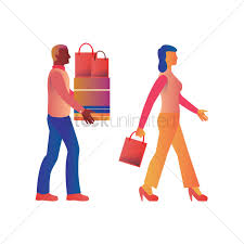 a man carrying shopping bags and boxes for a woman vector image