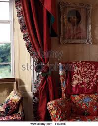 Curtains With Red Red Floral Curtains Red Floral Beautiful Pom Pom Curtains Summer