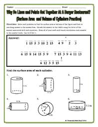 surface area and volume cylinders riddle worksheet by secondary