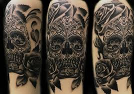 black grey catrina day of the dead realism skull