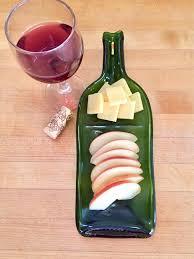 flattened wine bottle platter recycled wine bottle wine bottle cheese tray melted wine my etsy