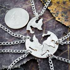 silver wolf necklace images Wolf pack 5 piece friends and family necklace hand cut coin jpg