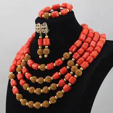 Costume Jewelry Unique Beaded Design Unique Design Orange Coral Beads African Bib Wedding Jewelry Set