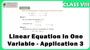linear equation in one variable application 3 equation maths